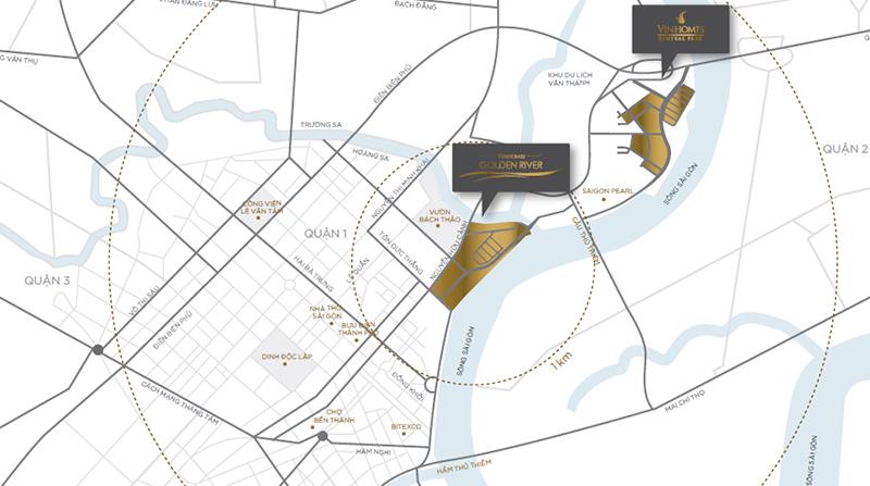 vị trí dự án - Vinhomes Golden River